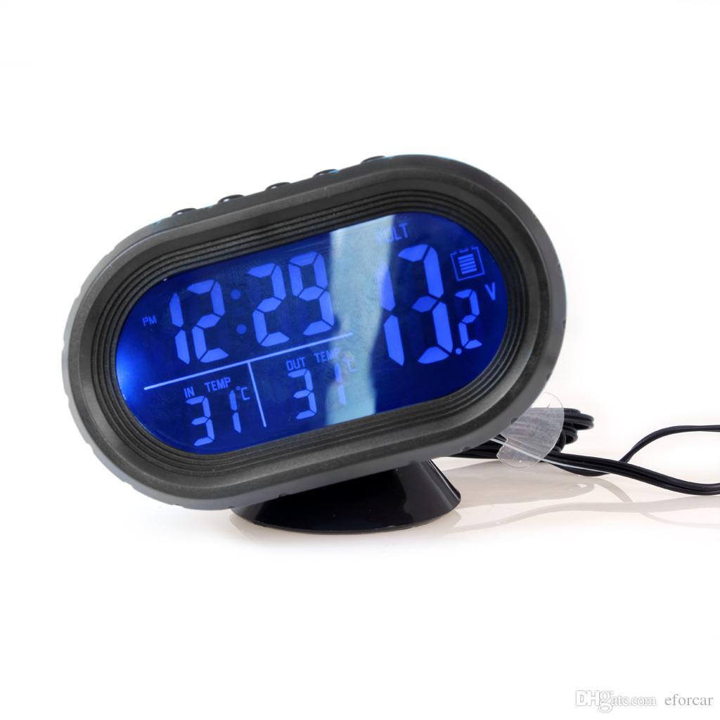 12V 24V سيارة الرقمية سيارة شاحنة على مدار الساعة الجهد درجة الحرارة ميزان الحرارة إنذار مراقب متعدد الوظائف