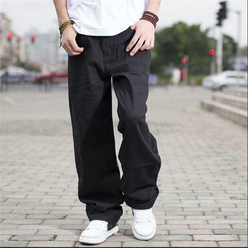 48ba3714db473 Al por mayor-Negro pantalones vaqueros de hip hop estilo holgado pantalones  sueltos para boy rap jeans para hombre grandes pantalones gordos hiphop ...