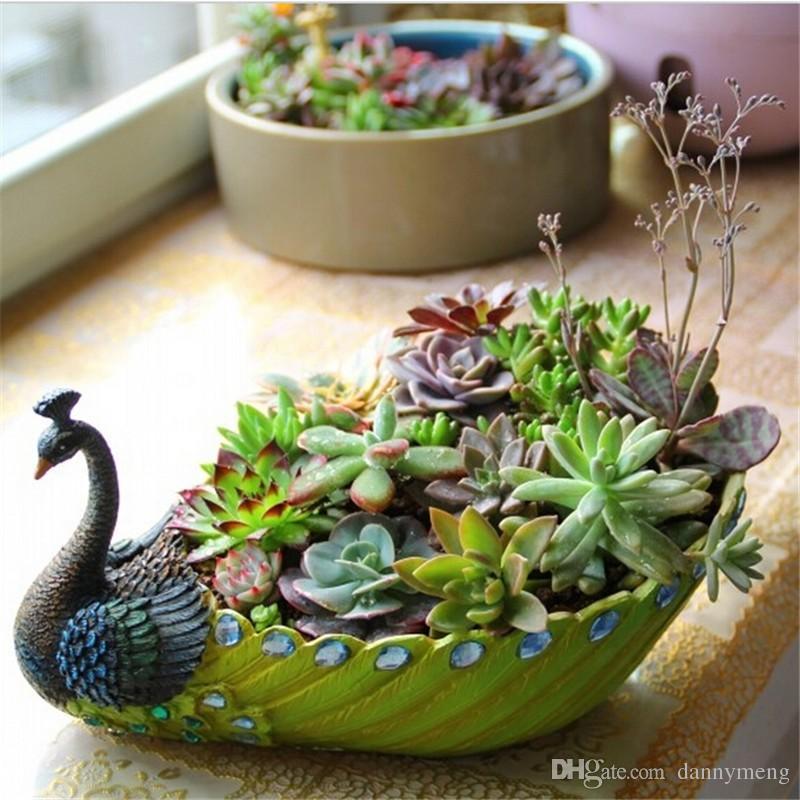 Large Medium Small Three Size Pastoral Simplicity Resin Peacock Green Plants Flower Pots Creative Flower Pot