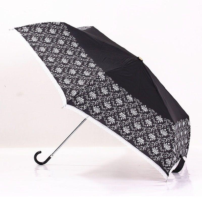 Moda Feminina Branco Black Lace Umbrella Flared Lidar Com Guarda Chuva Parasol Sombrinha Chuva Guarda-chuva Da Noiva Do Casamento ZA3285