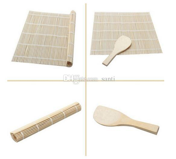 Hot Kitchen Sushi tools Rolling Roller Bamboo Material Mat Maker DIY A Rice Paddle Cooking Tools