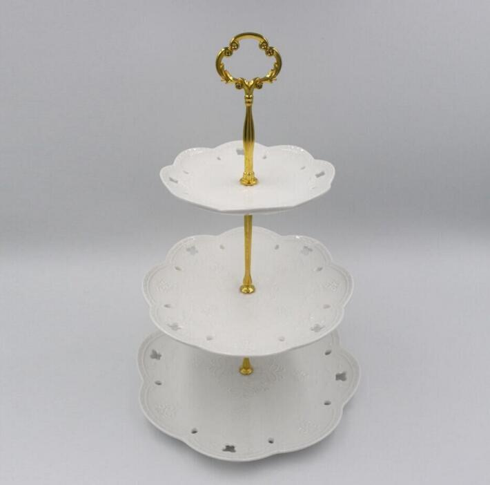 3 Tier ZN Alaşımları Yuvarlak Kek Standı Düğün Doğum Günü Pastası Standı Ekran Kule Mutfak Aletleri plakalar inlcuded değildir