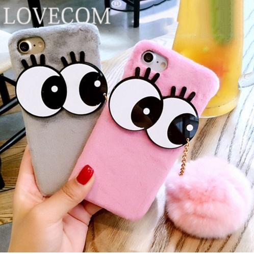 sports shoes 83700 780ca Luxury Fashion Soft Plush Rabbit fur Fluffy ball Fuzzy Eyes Phone Case For  iPhone 7 For iPhone 6 6S 7 Plus Hard Phone Back Cover