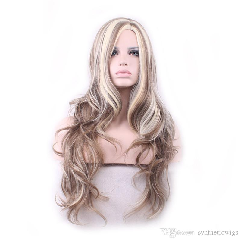WoodFestival blonde long wavy wig brown ombre wig fashion women synthetic hair wigs heat fiber lolita 70 cm