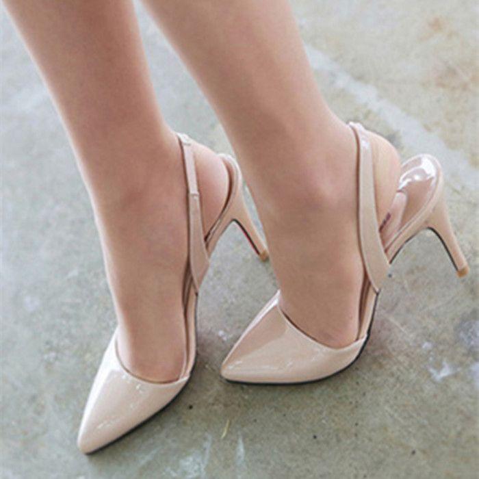 Sexy Lack PU Leder wies High Heels Frauen Hochzeit Schuhe Büro Lady Nude D'orsay Pumps Plus Größe 33 bis 41 41