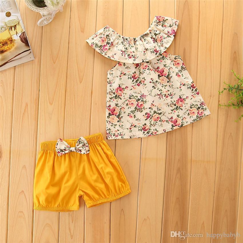 Fashion Summer Children Vêtements Set Fleur impression Tops + Bowknot pantalon court ensemble Kids Baby Girl Costume Costumes