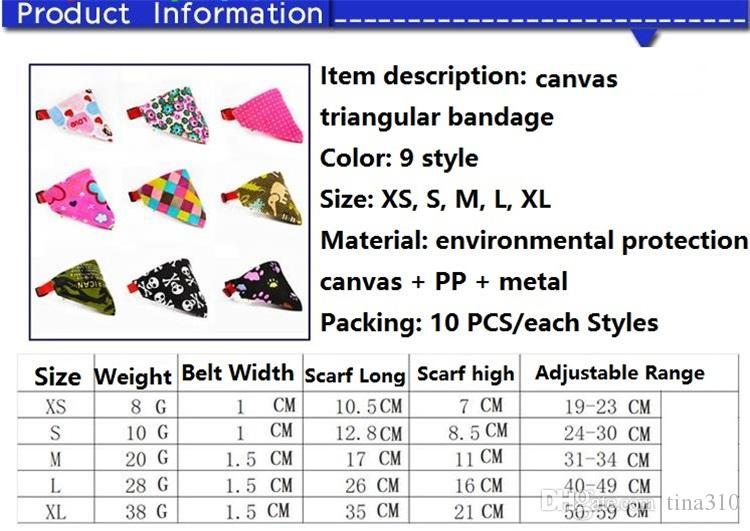 9 Styles 5 Tailles Mode Chien Bandana Triangle Écharpe Colliers Pet Chat Colliers De Chien De Mode Chien Colliers Pet Supplies Colliers De Chien I087