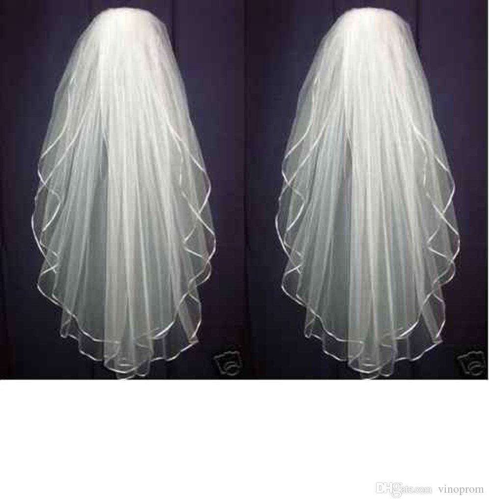 Nuovo arrivo White Ivory Wedding Bridal Veil Gomito Lunghezza Bordo in raso con pettine Lunghezza Bordo in raso 2018
