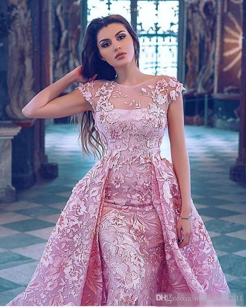 Luxury 2019 Pink Mermaid Prom Dresses With Detachable Train Lace Appliqued Formal Evening Gowns Short Sleeve Jewel Neckline Party Dress