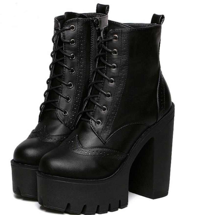 Wholesale Punk Gothic Rock Women Boots Platform High Top Leather Lace Up  Side Zip Ankle Boots Short Bootie Creepers Wing Tip Shoes Broques Shoes ... 0e5349626725