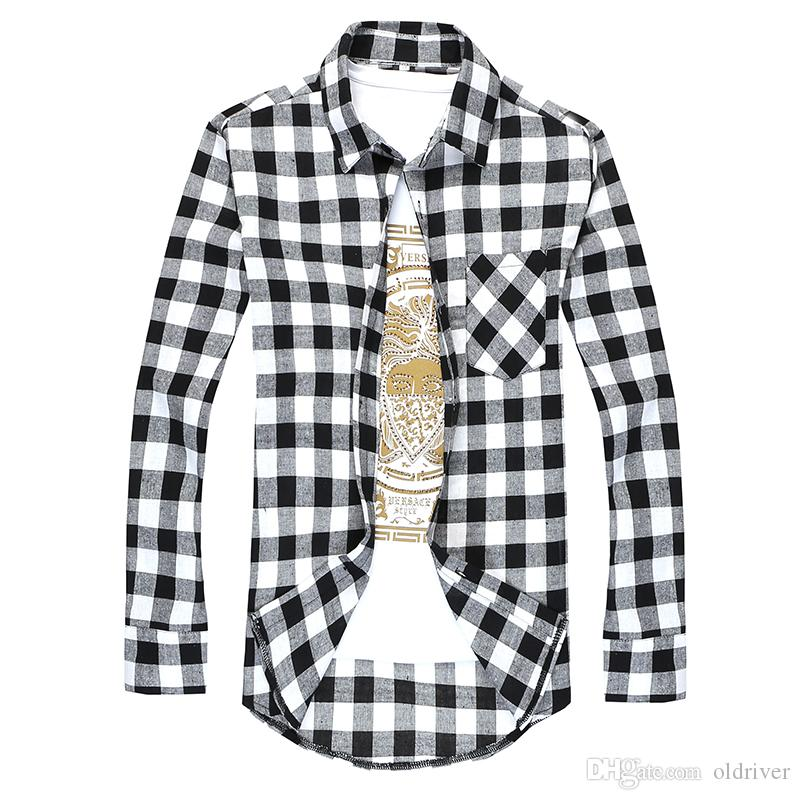 28a61b5531 Fashion Men s Long Sleeved Flannel Casual Plaid Shirt Men Checkered Dress  Shirts Slim Stylish free shipping