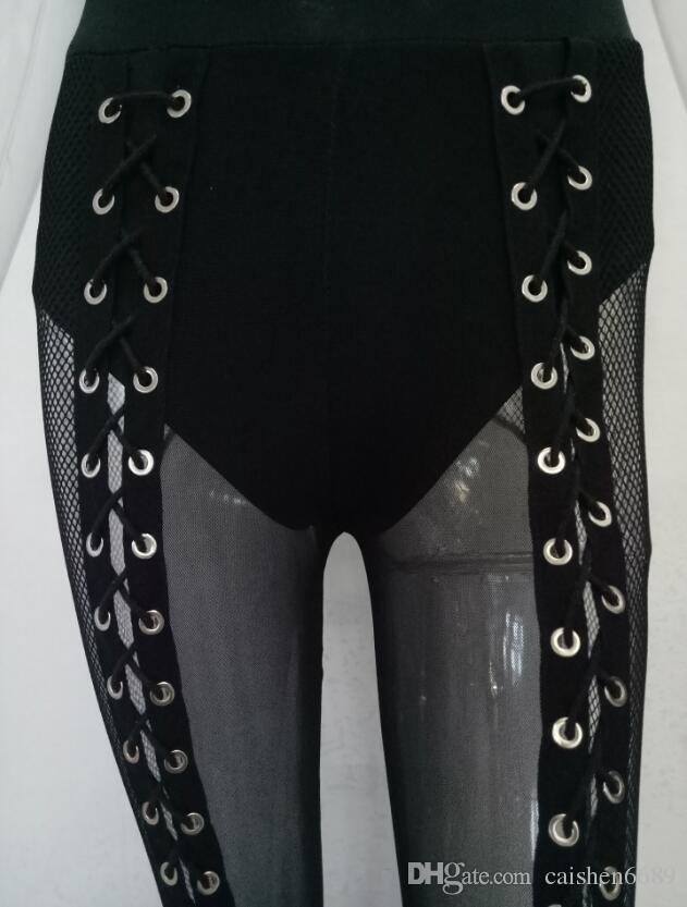 Tuta da donna in misto nero trasparente a semi combinati Tuta 2018 Abbigliamento donna sexy con scollo a V Body aderente con cinturino Tuta senza maniche