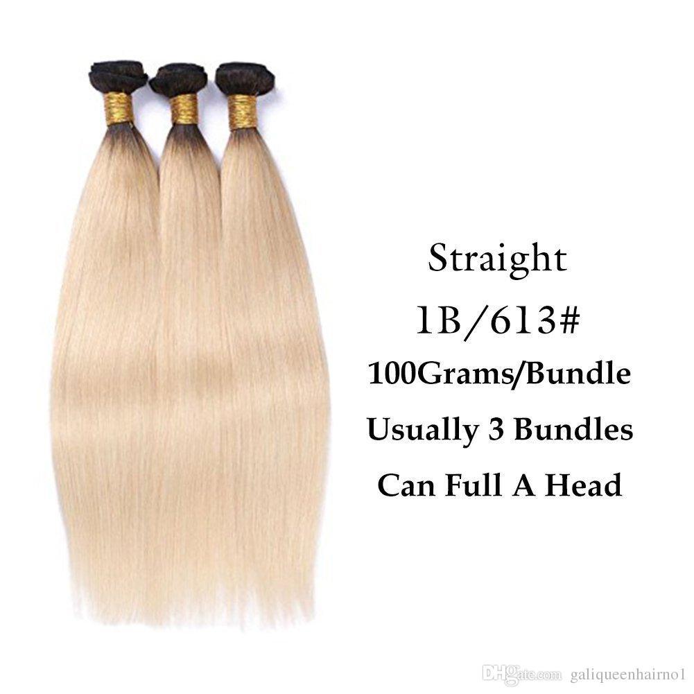 البرازيلي مستقيم الإنسان الشعر ينسج أومبير t1b / 613 شقراء اثنين لهجة اللون كامل رئيس 3 قطعة / الوحدة لحمة مزدوجة ريمي الشعر