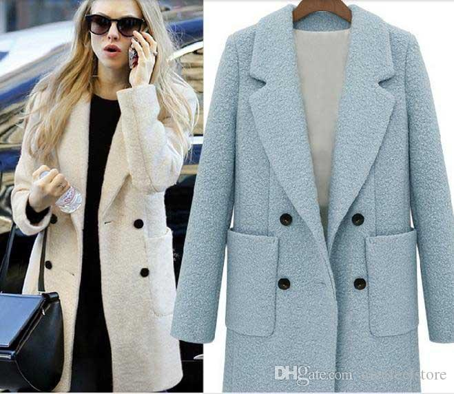 Autumn New Women Fashion Double Breasted Woolen Coats Ladies Sexy Lapel Long Sleeve Jacket Wool Surcoat Girls Slim Outerwear