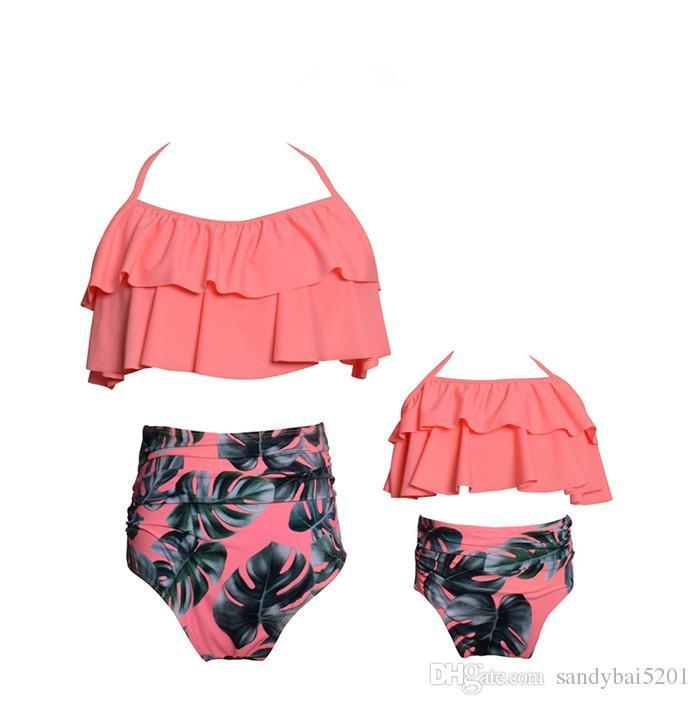 Mother Daughter Swimming Suit Mom Girl Floral Print Top + Pants Sets Women Kids Dot Swimwear Family Match Swimsuit Bathing Beachwear
