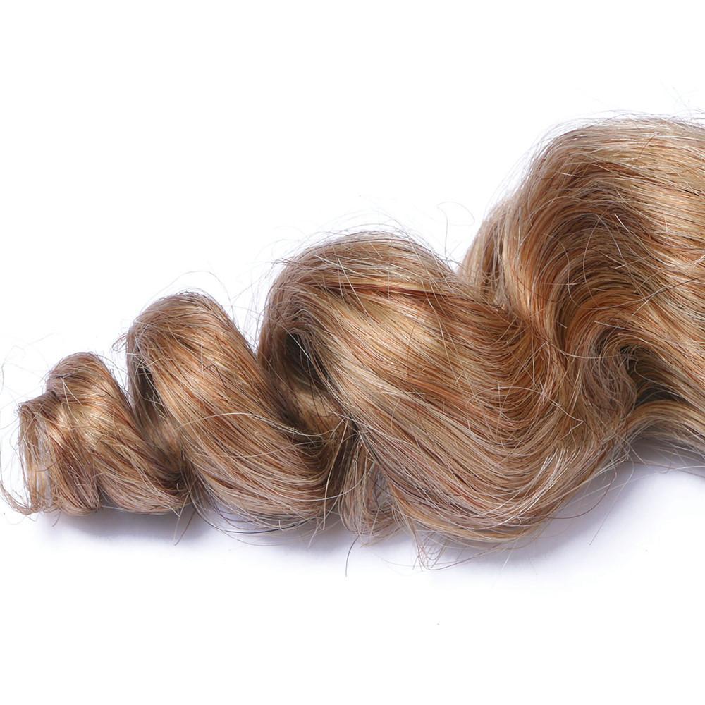 2 Ton 1B / 27 Ombre Brezilyalı İnsan Saç Gevşek Dalga 3 Paketler Kapanış Karışmayan Remy Saç Uzantıları Bakire Saçlı