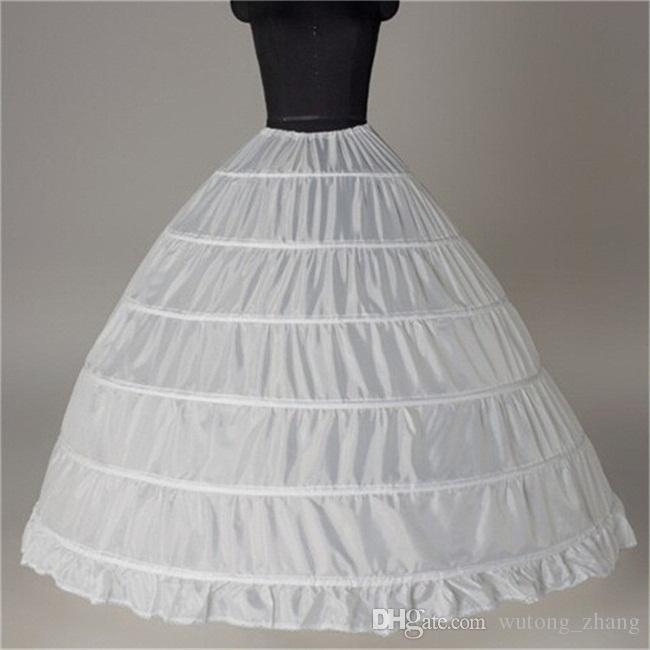 الكرة ثوب كبير تنورات 2017 جديد أسود أبيض 6 الأطواق العروس تحتية اللباس الرسمي قماش قطني زائد حجم اكسسوارات الزفاف