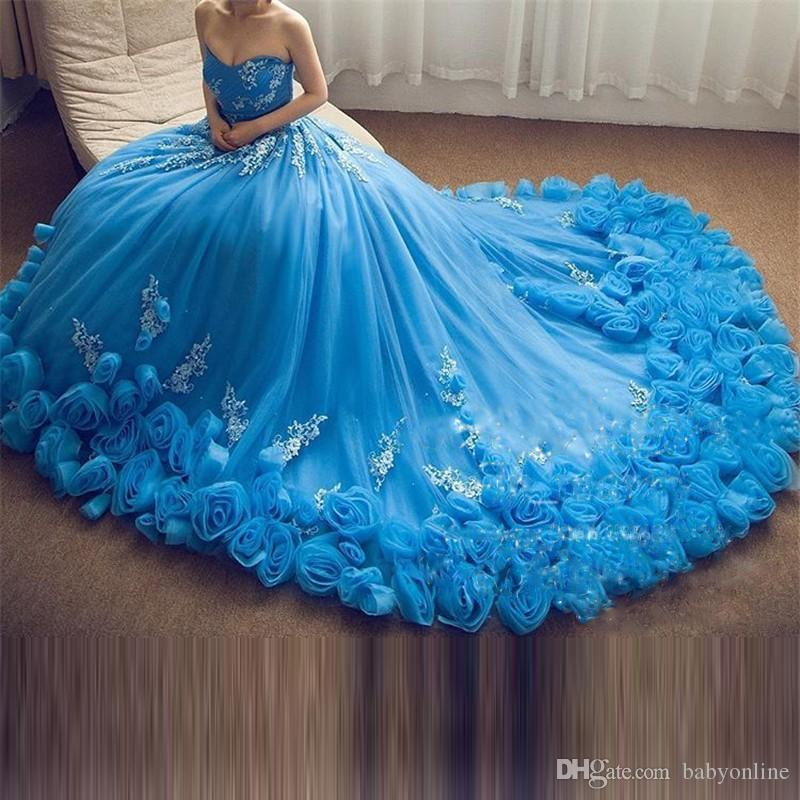 2019 Aqua Cascading Ruffles Long Train Quinceanera Dresses Sexy Sweetheart Ball Gowns with Hand Made Flowers Prom Party Evening Gowns Formal