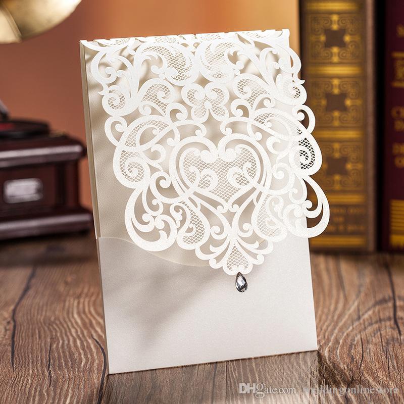 Crystal Hollow Flower Wedding Invitations Cards Customized ...