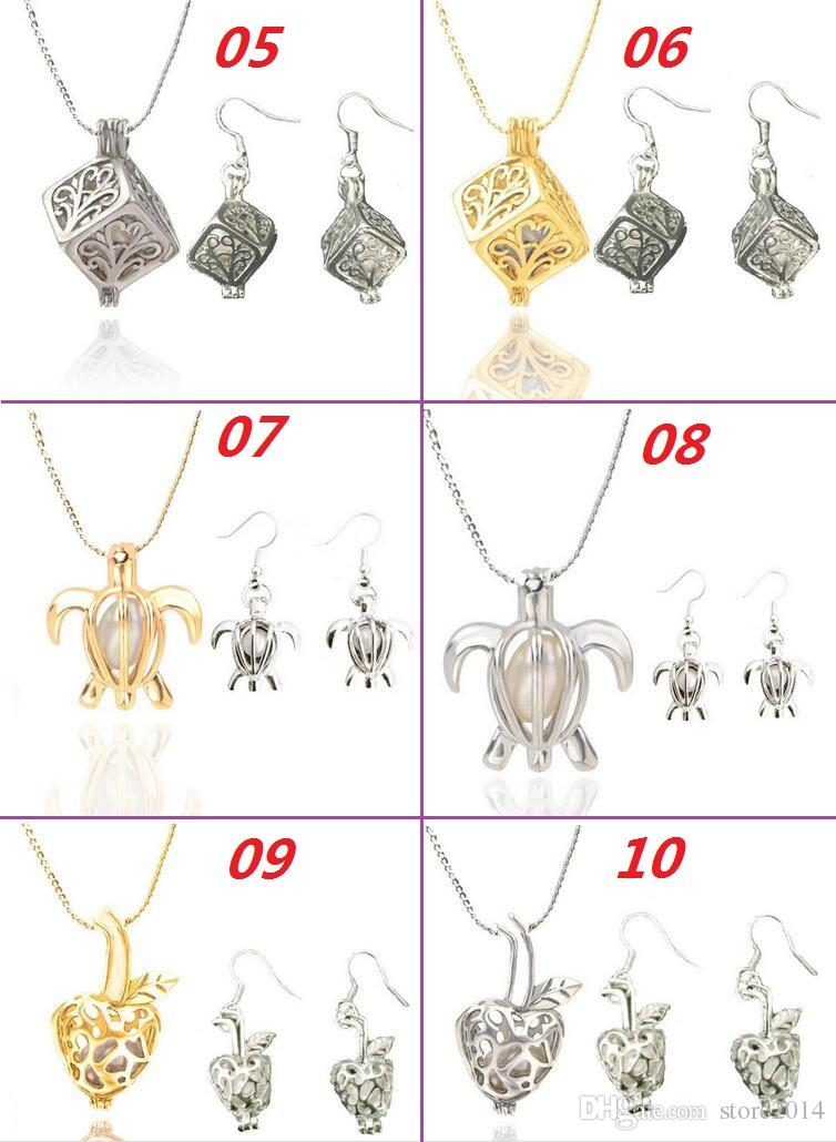 Love Wish Pearl Cages Locket Pendant Jewelry Sets Freshwater Pearls Oyster Pendant Earrings & Necklace SetsExcluding Pearl Canned