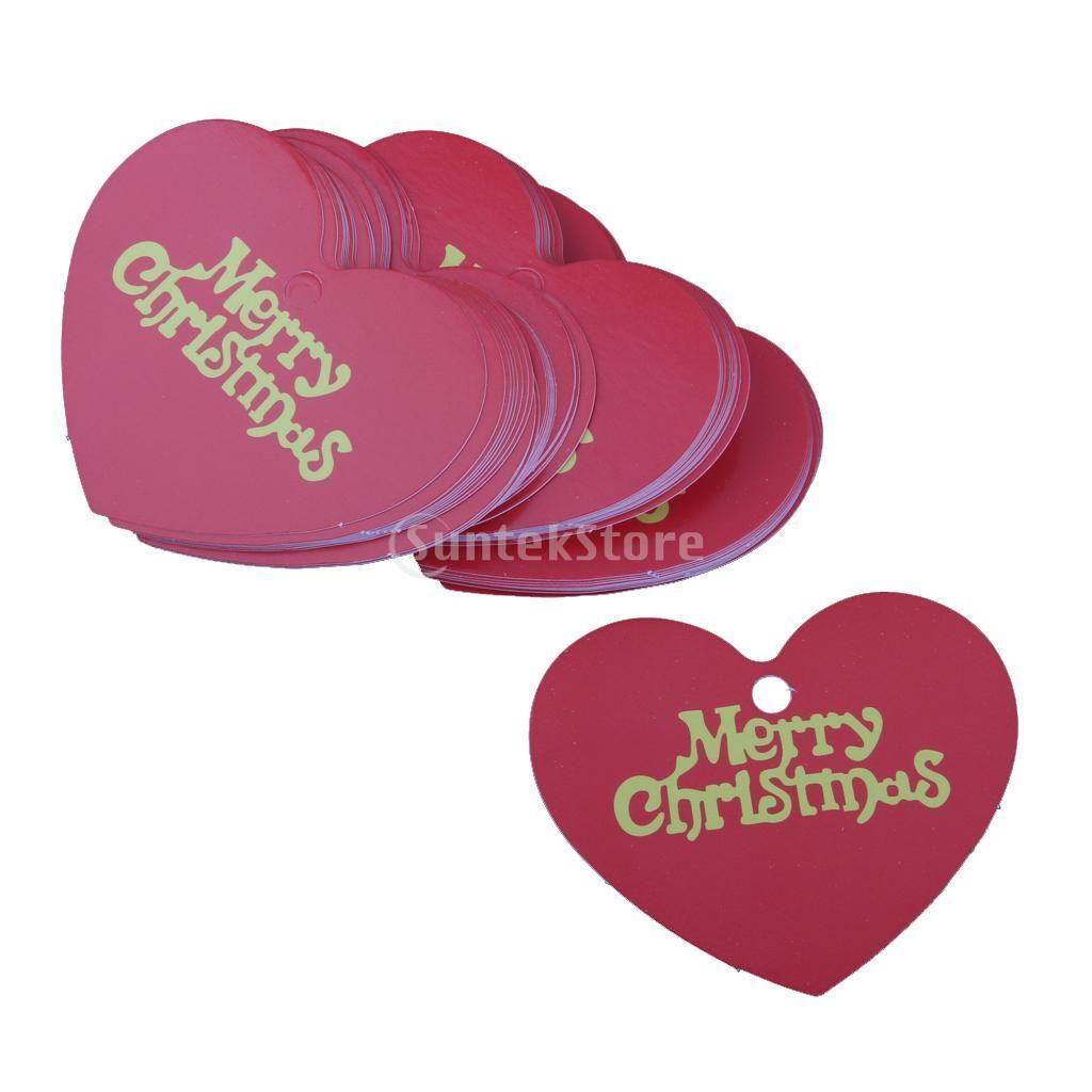Wholesale Phenovo 48 Merry Christmas Heart Shape Paper Hang Tags ...