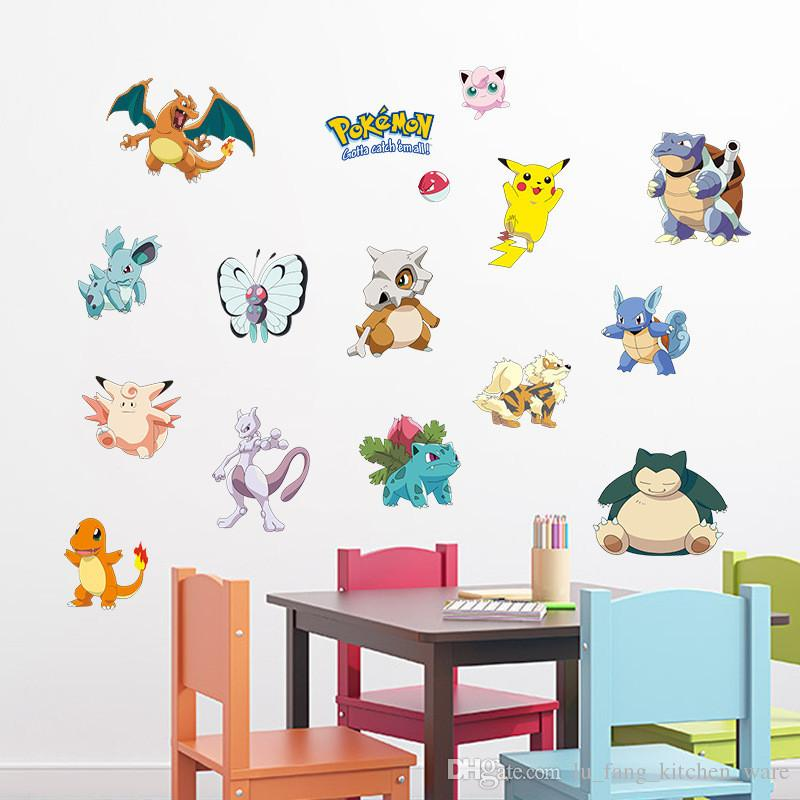 pvc fashion Creative DIY wall sticker for child bedroom Carved Removable cute animal Wizard baby cartoon art Sticker Decor 2017 Wholesale