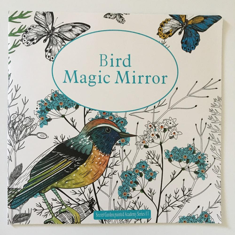 24 Pages Bird Magic Mirror Coloring Book For Adult Secret Garden