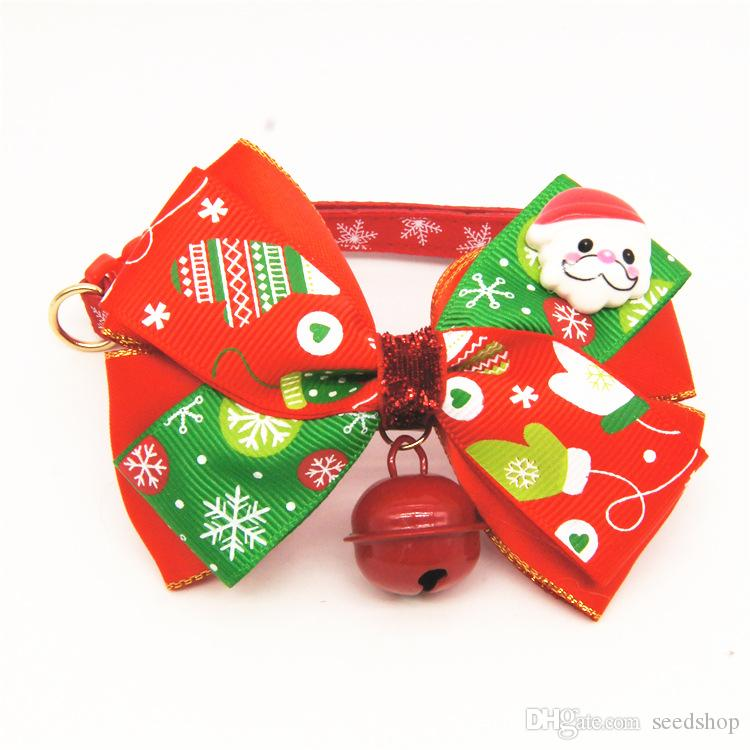 Amy pet bow tie handmade custom pet accessories cats dogs bells bow tie necklace ornaments, happy Christmas