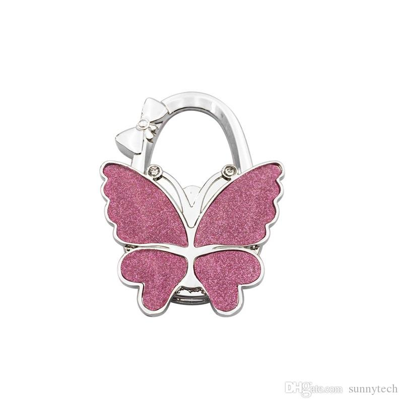 Metal Foldable Bag Purse Hook Bag Hanger/Purse Hook/Handbag Holder Shell Bag Folding Table Butterfly Bling Colors ZA5220