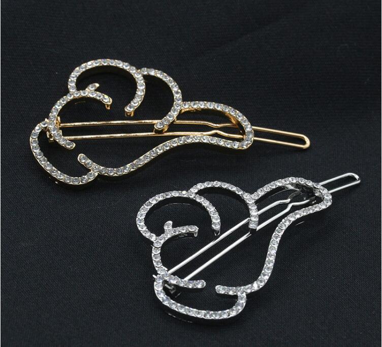 Perni di capelli di cristallo Fermagli capelli le donne Accessori gioielli di capelli d'oro Fermagli capelli in lega di strass dorati