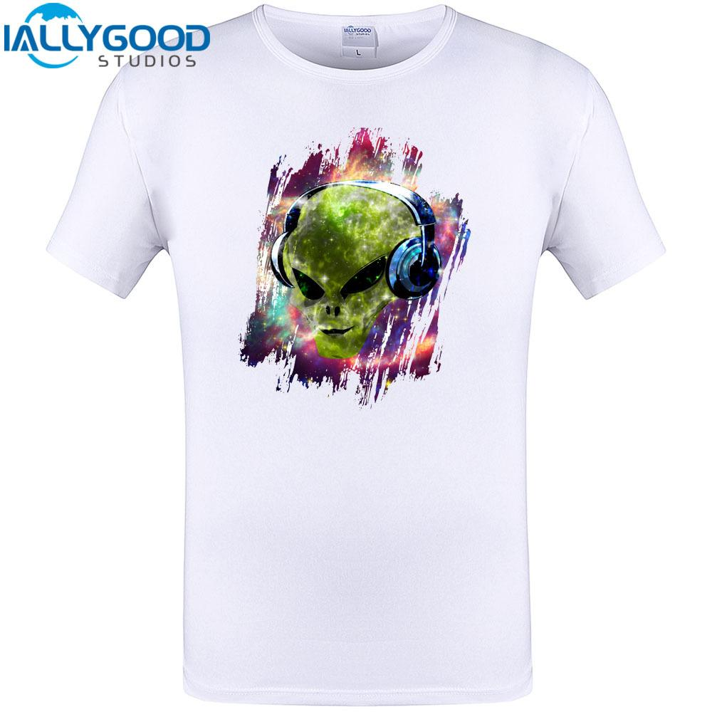 5730ce58 Cool Alien Music Design 2018 New Arrived Mens T Shirt Summer Sleeve O Neck  Tops Funny Tee Cool Print Clothing Plus Size Novelty Tee Shirts Awesome  Shirt ...