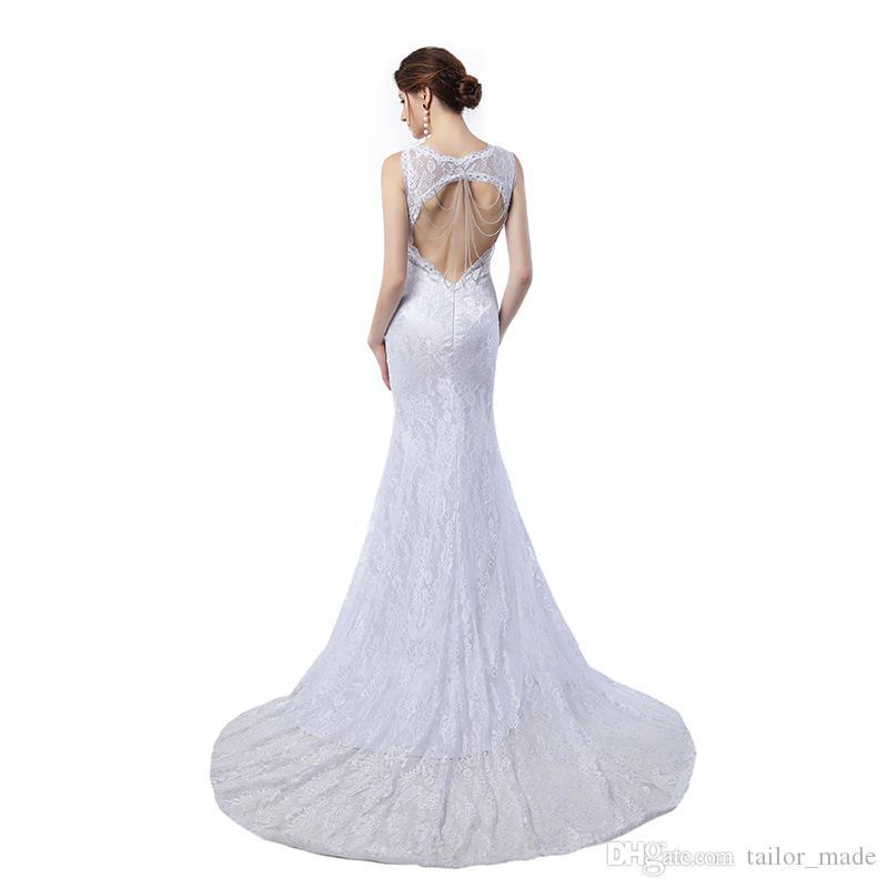 Abito da sera lungo economico Vestido De Novia Abiti da sera sexy senza schienale in pizzo bianco vintage Sirena elegante