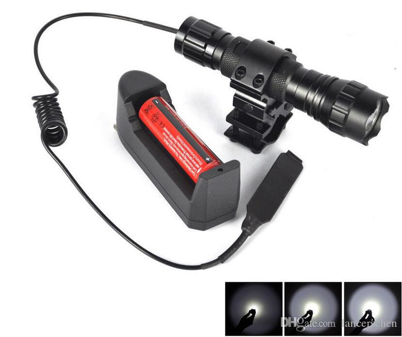 WF-501B Tactical LED Flashlight 2000 Lumens Lanternas Led Torch Hunting Light With Gun Mount and Remote Pressure Switch