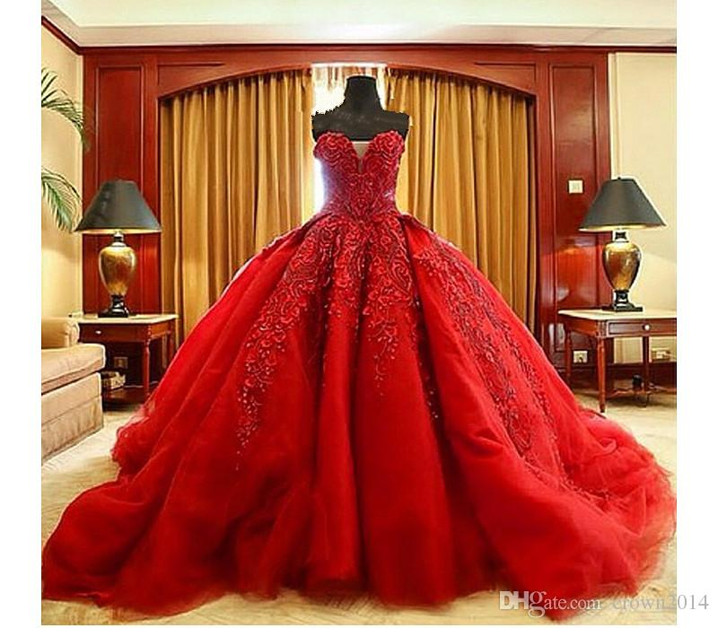 Red lace ball gown images galleries for Wedding dresses 2017 red