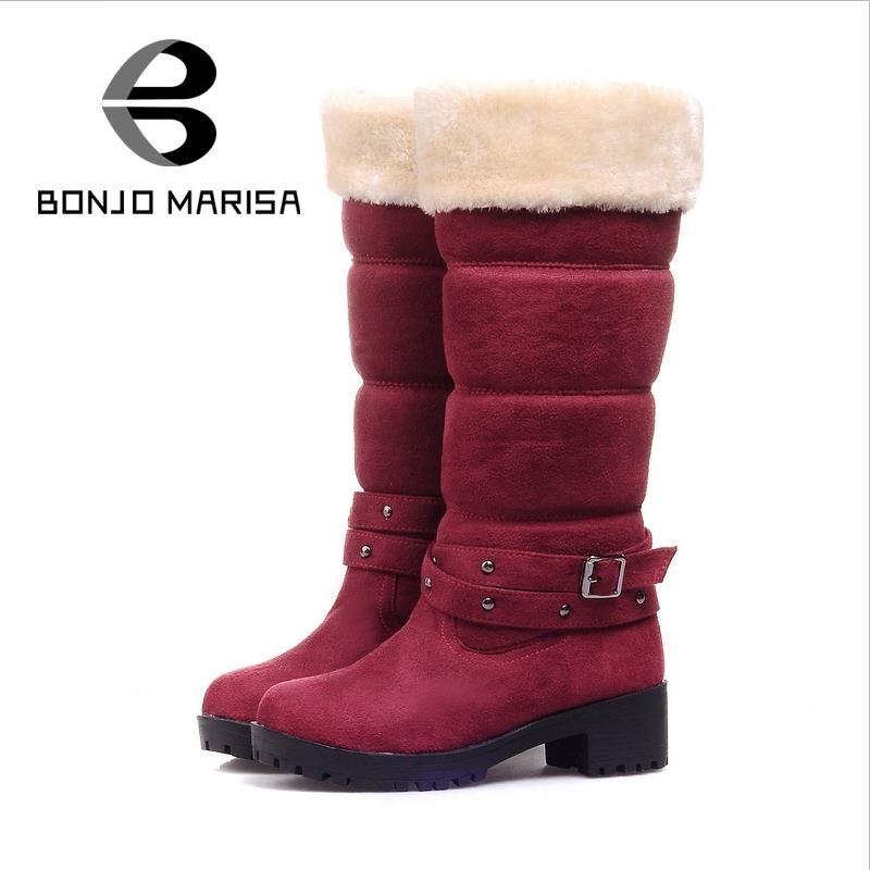 bf2e35f2dbe Wholesale-BONJOMARISA Big Size 34-43 Fashion Buckle Warm Snow Boots ...