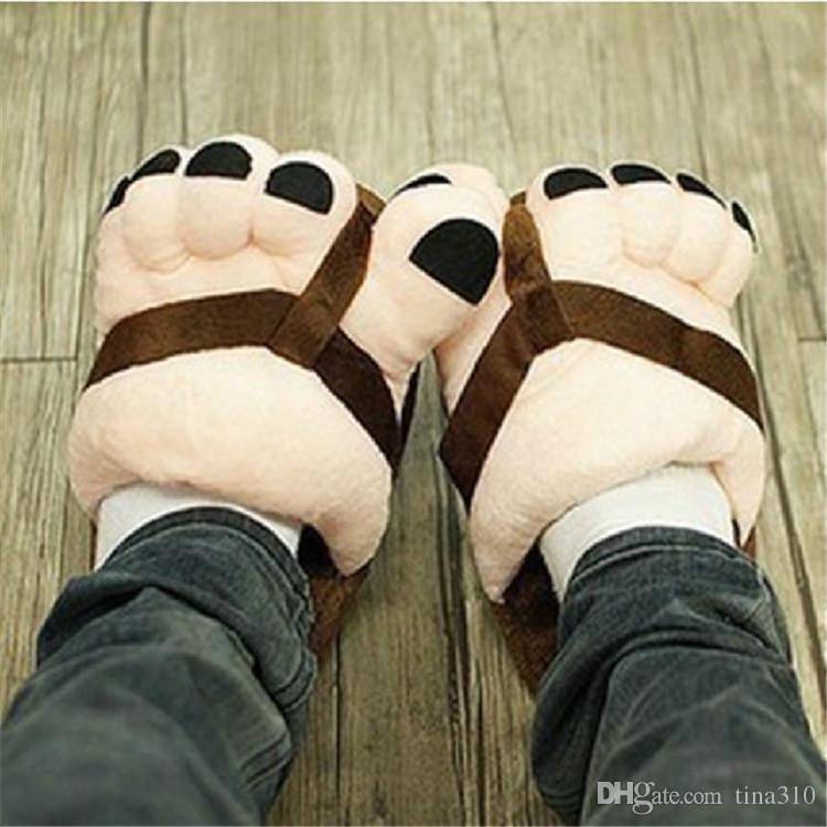 Inicio WearPretty Divertido Invierno Interior Dedo del pie Pies grandes Calientes Suave Zapatillas de felpa Regalo de la novedad Zapatos para adultos Unisex Mujer Hombre Zapatilla Inicio Zapatos IC646