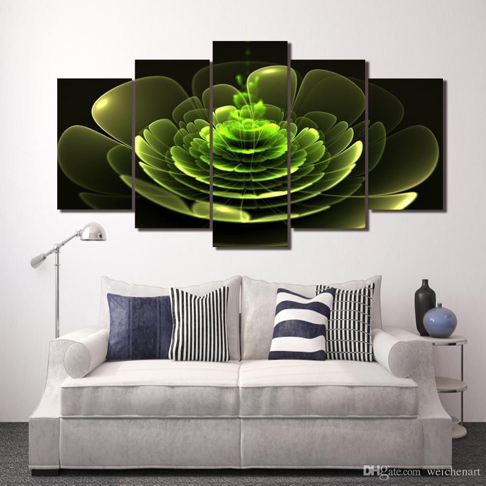 Poster Resim Tuval Wall Art Painting Baskı Wall Art Odası Dekor Boyama 5 Paneli HD Baskılı Renkli Yeşil Çiçek Resim