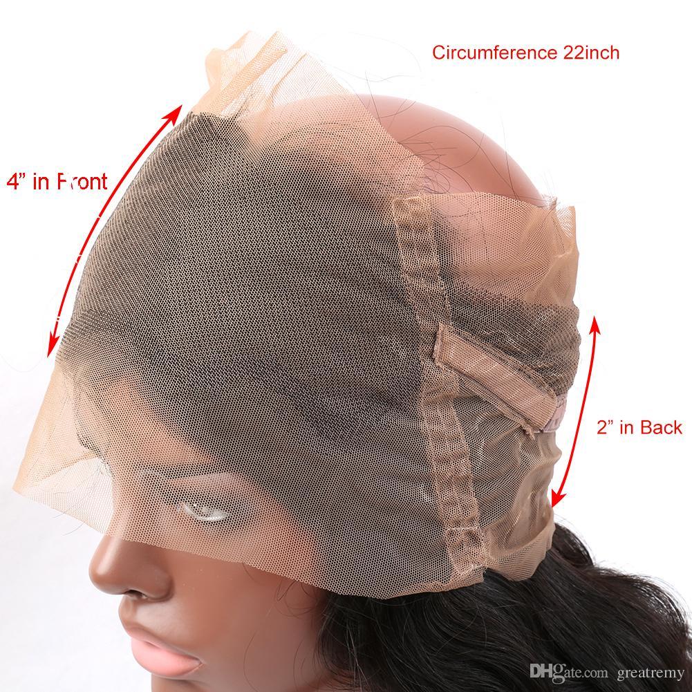 360 Spitze Frontal 22 * 4 * 2 Körperwelle Brasilianische Haarwebart Verschluss 2 stücke Einstellbare Volle Spitze Echthaar Perücken Greatremy Freies Teil / Mitte / 3 Teil