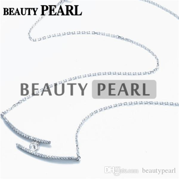 Necklace Blank for Pearls Mounting Two Lines Zircon 925 Sterling Silver Link Chain Base