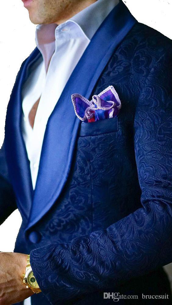 Vintage Royal Blue Paisley Smokings Wolle mit Fischgrätmuster britische Art Smoking nach Maß Mens Anzug Slim Fit Blazer Hochzeitsanzüge für Männer Plus-Si