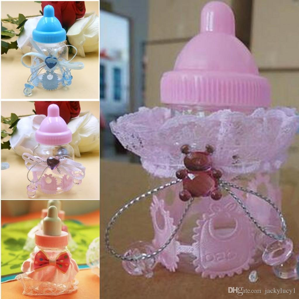 Cute milk bottle design baby shower full moon candy box for Baby full moon party decoration
