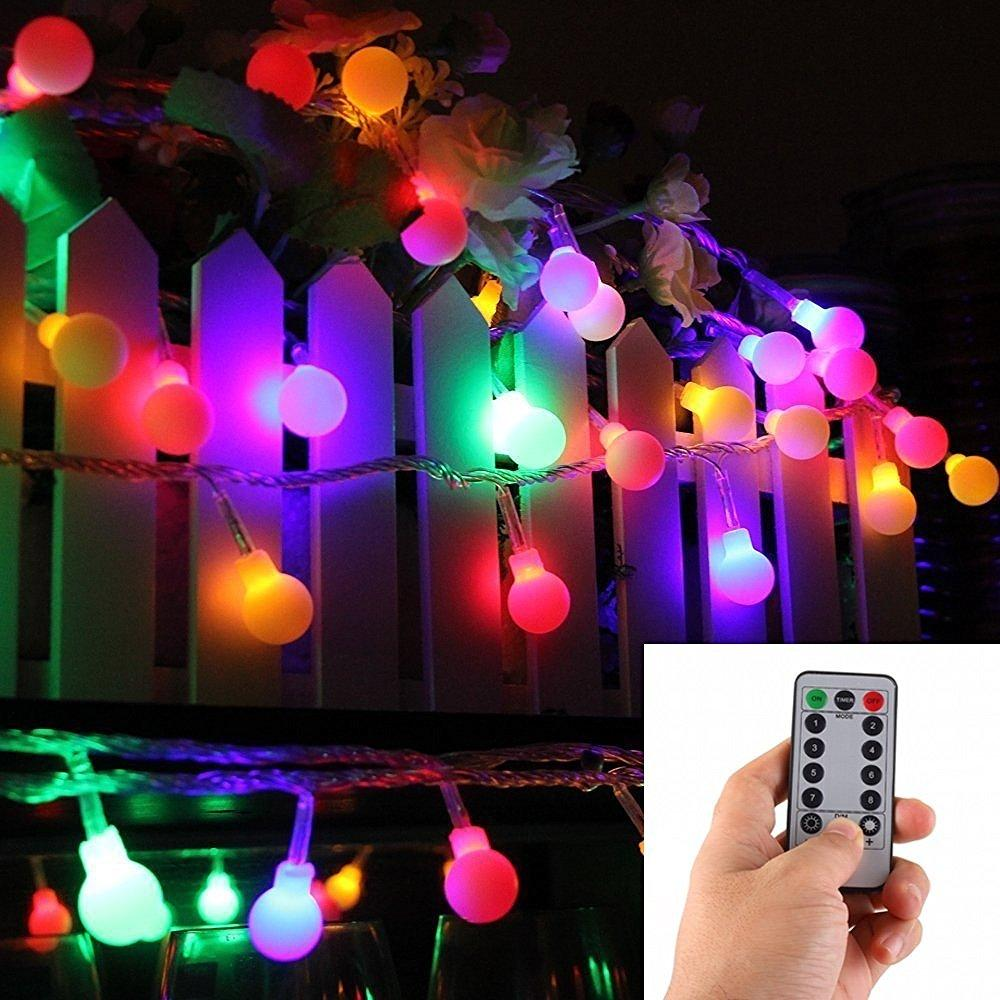 16 Feet 50 LED Outdoor Globe String Lights 8 Modes Battery Operated ...