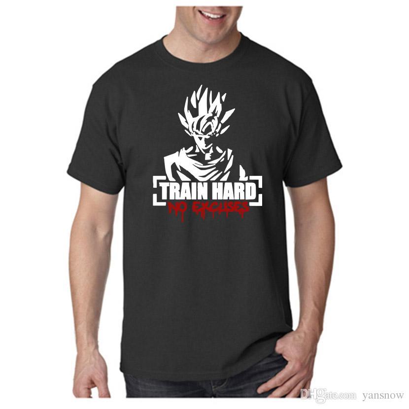 Fashion Dragon Ball Z Men T Shirts Anime Train Hard No