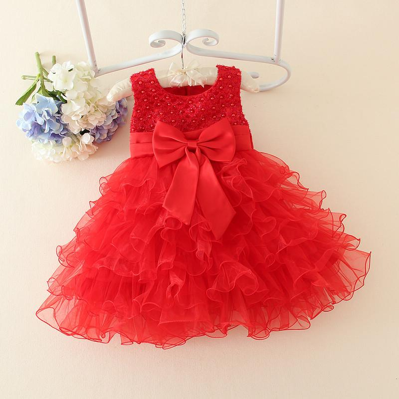 Wholesale- Red Baby Christmas Dresses For Girls Lace Pearls Girls Christening Dress Baby Girl Tutu Dress Kids Children Holiday Clothing