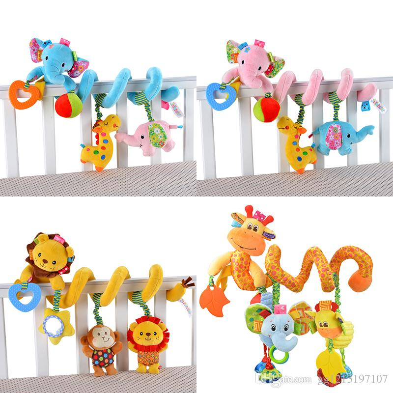 0-12 Month Baby Toys Infant Stroller/Bed/Cot Crib Hanging Infant Kids Educational Cartoon Animal Pattern Rattles Toy Baby Gift