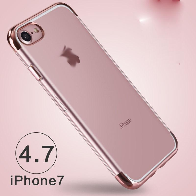 For iphone7 Electroplate TPU CASE Aluminium Frame Bumper Clear Crystal TPU cover case cases for Iphone 7 6 6s Plus samsung s6 s7