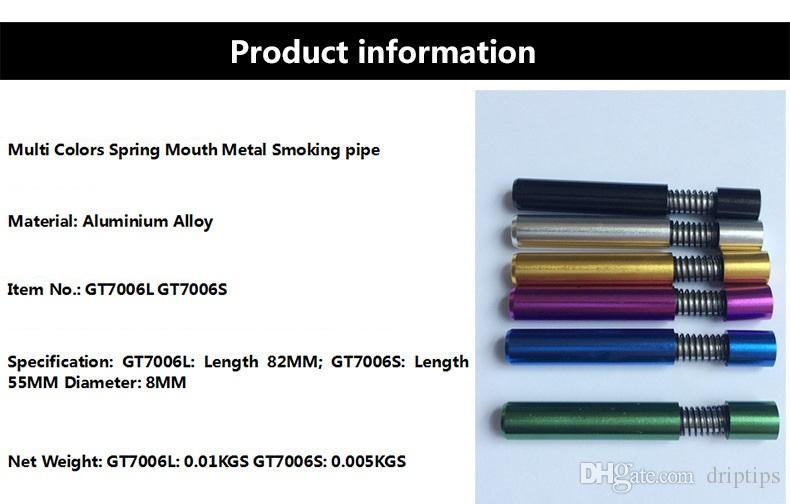 Multi Colour Spring Mouth Metal Smoking Un tubo de aluminio con balas de resorte puede limpiarse, 82 mm o 55 mm