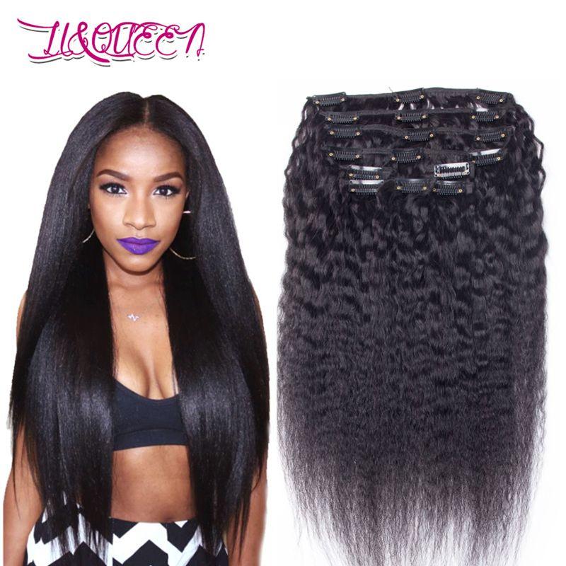 Brazilian Virgin Human Hair Kinky Straight Clip In Hair Extensions