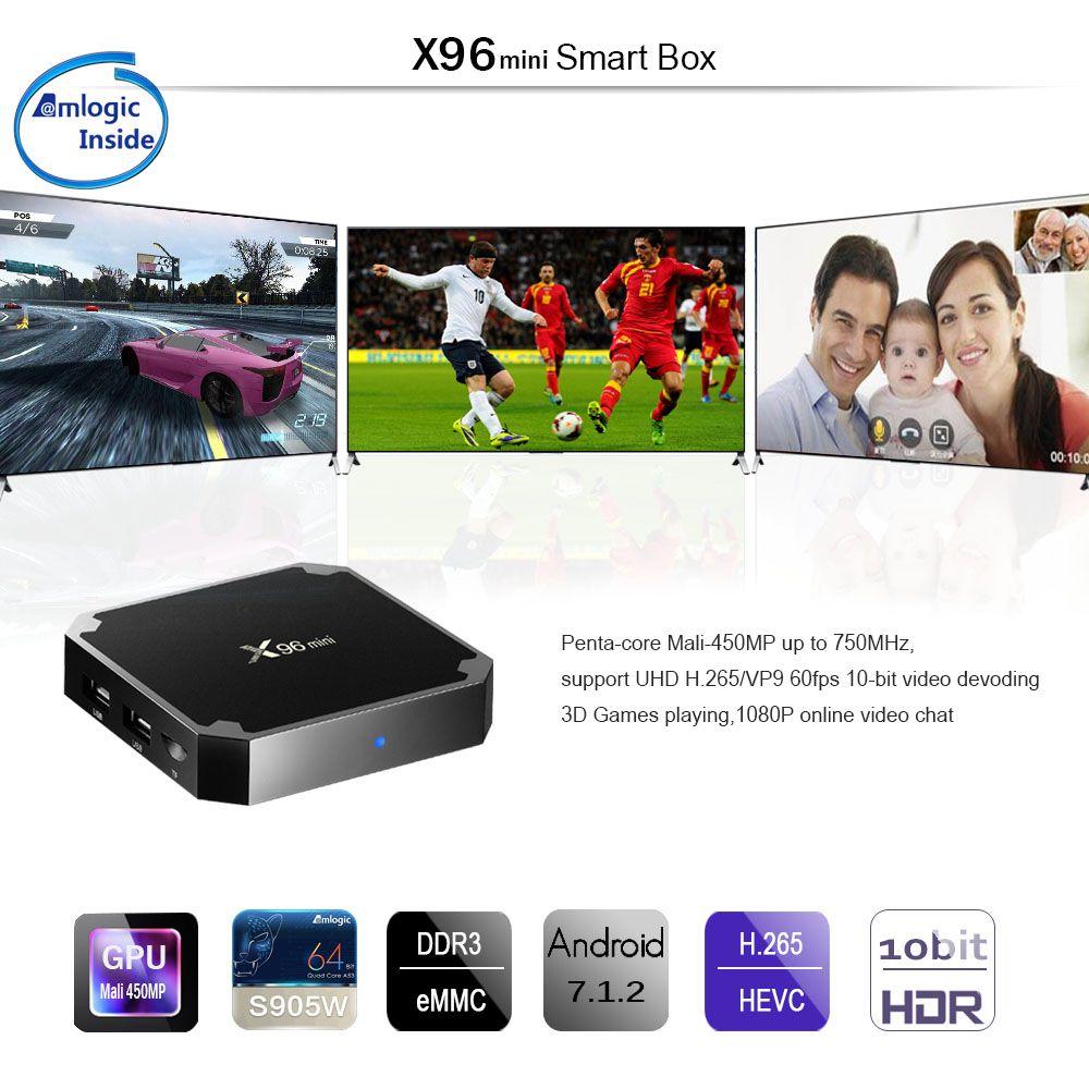 Caixa de TV Android 2 GB 16 GB X96 mini Amlogic S905W IPTV Android N Beta construir Quad Core 100 M Lan 2.4G WiFi 4 K VP9 HDR10 inteligente media player