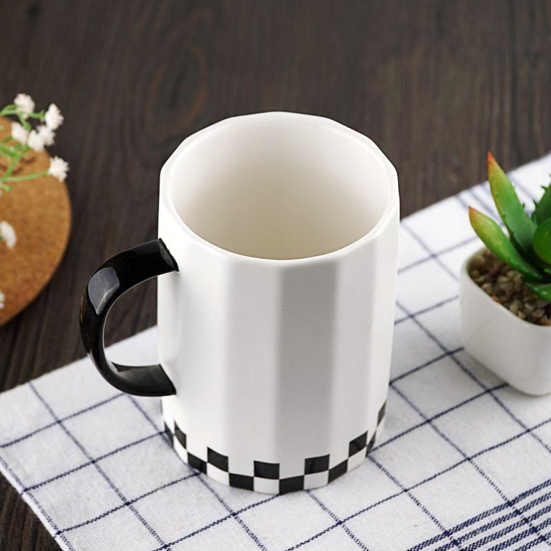 16OZ Large Ceramic Cup White Black Coffee Tea Cup Brief Style Big Office Mug Porcelain Drinkware Ceramic Mug Gift